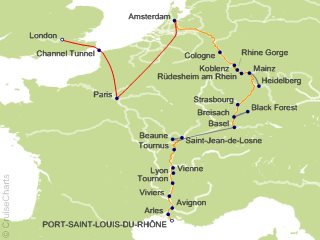 18 Night Rhine and Rhone Revealed with 2 Nights in Paris and 2 Nights in London (Northbound) Cruise and Land Tour from Port Saint Louis du Rhone