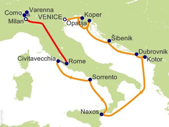 12 Night Amalfi and Dalmatian Coasts / Milan and Lake Como Cruise and Land Tour