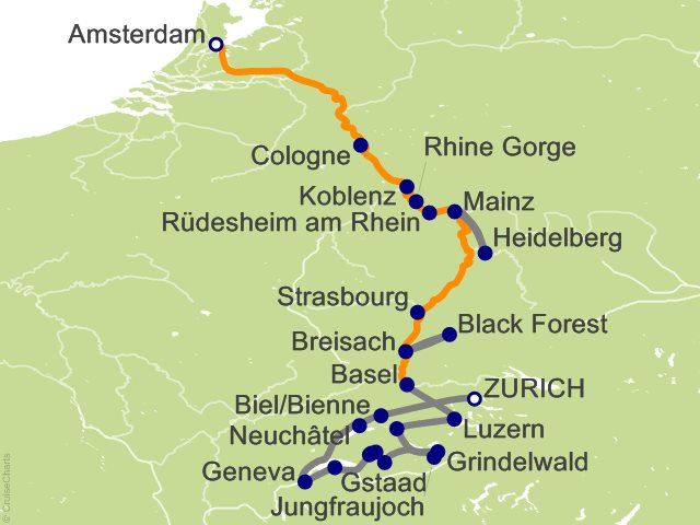 15 Night Spectacular Switzerland with Romantic Rhine Cruise and Land Tour
