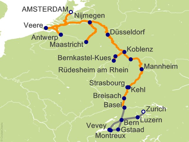 18 Night Romantic Rhine and Moselle with Switzerland Cruise and Land Tour