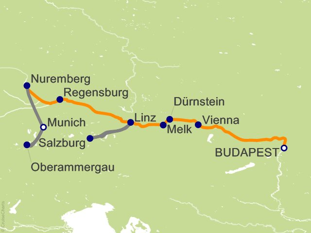 10 Night Gems of the Danube with Bavaria and Oberammergau Cruise and Land Tour
