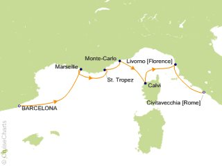 7 Night Springtime Mediterranean Voyage Cruise from Barcelona
