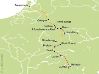 11 Night Romantic Rhine with 3 Nights in Lake Como  1 Night in Lucerne and Mount Pilatus (Northbound) Cruise and Land Tour from Como