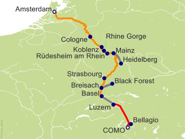 11 Night Romantic Rhine with 3 Nights in Lake Como  1 Night in Lucerne and Mount Pilatus (Northbound) Cruise and Land Tour