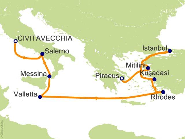 10 Night Rome (Civitavecchia) to Athens (Piraeus) Cruise