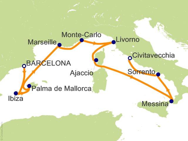 11 Night Barcelona to Rome (Civitavecchia) Cruise