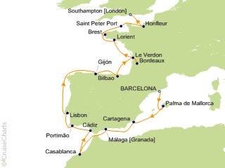 17 Night Barcelona to London (Southampton) Cruise from Barcelona