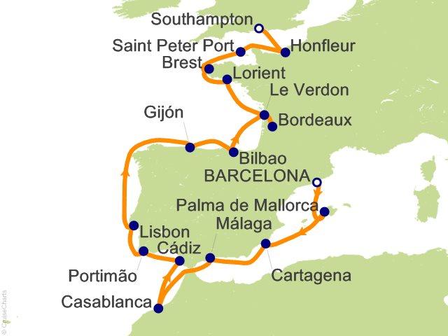 17 Night Barcelona to London (Southampton) Cruise