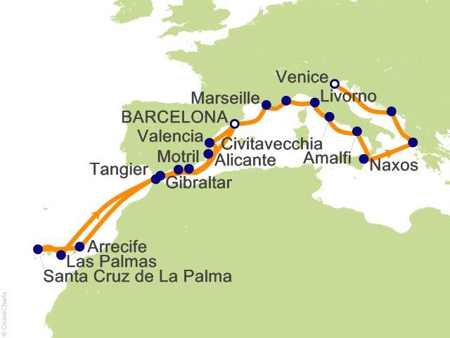 22 Night Barcelona to Venice Cruise