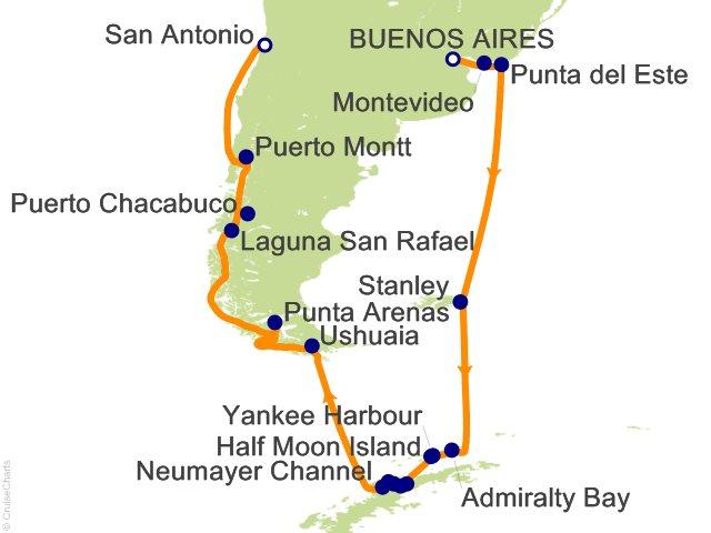 19 Night Buenos Aires to San Antonio (Santiago) Cruise