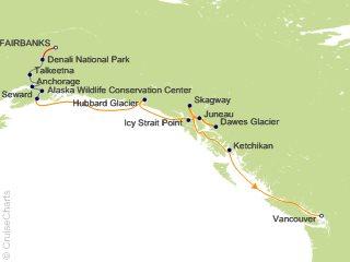 12 Night Denali Talkeetna Explorer - Southbound Cruisetour from Fairbanks from Fairbanks