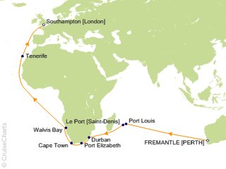 33 Night Fremantle to Southampton Cruise from Fremantle