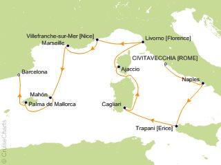 10 Night Rome (Civitavecchia) to Barcelona Cruise from Civitavecchia (Rome)
