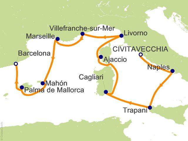 10 Night Rome (Civitavecchia) to Barcelona Cruise
